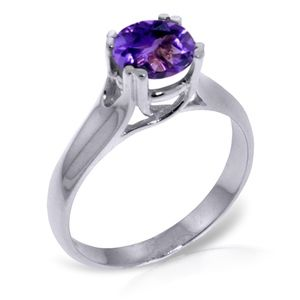 GOLD SOLITAIRE RING WITH NATURAL AMETHYST